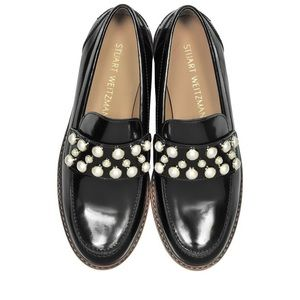Stuart Weitzman Mocpearl Leather Black Loafers